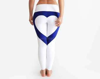 Heart Leggings, Heart Shape Pants, White Leggings, Sexy Leggings, White Yoga Pants, Heart Booty Pants, Designer Leggings, Ankle Yoga Pants