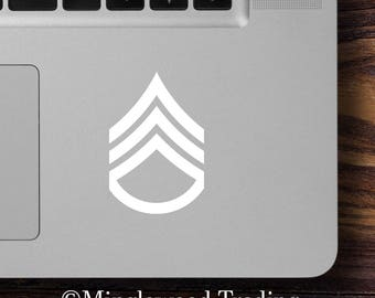 """2x US Army E6 Staff Sergeant Insignia 2.5"""" x 1.75"""" Vinyl Decal Stickers E-6 SSG Enlisted Rank *Free Shipping*"""