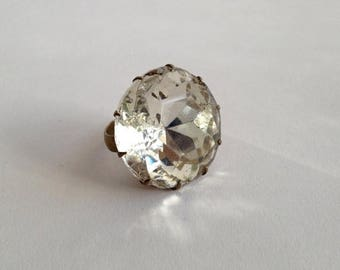 Summer Sale 1960's Huge Faceted Crystal Rhinestone Statement Ring