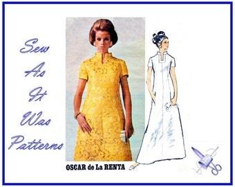 "1960s Uncut FF Vogue Americana 1909 Oscar de La Renta Evening Dress A-Line Standing Collar Vintage Sewing Pattern Size 14 Bust 36"" 92cm"