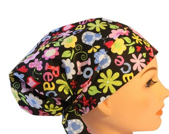 Scrub Hat Cap Chemo Bad Hair Day Hat  European BOHO Pixie Retro Peace Love 2nd Item Ships FREE
