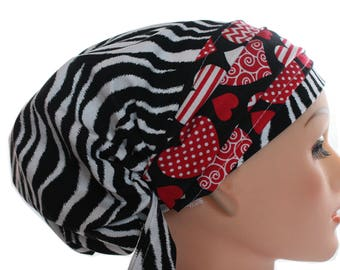 Scrub Hat Cap Chemo Bad Hair Day  European BOHO Banded Pixie Tie Back Black Zebra Red Heart Band 2nd Item Ships FREE