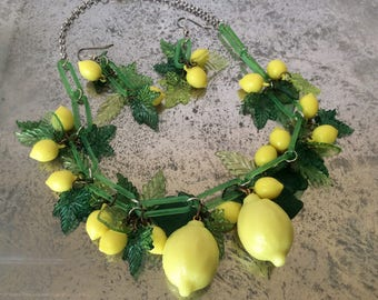 Retro style lemon necklace and earrings