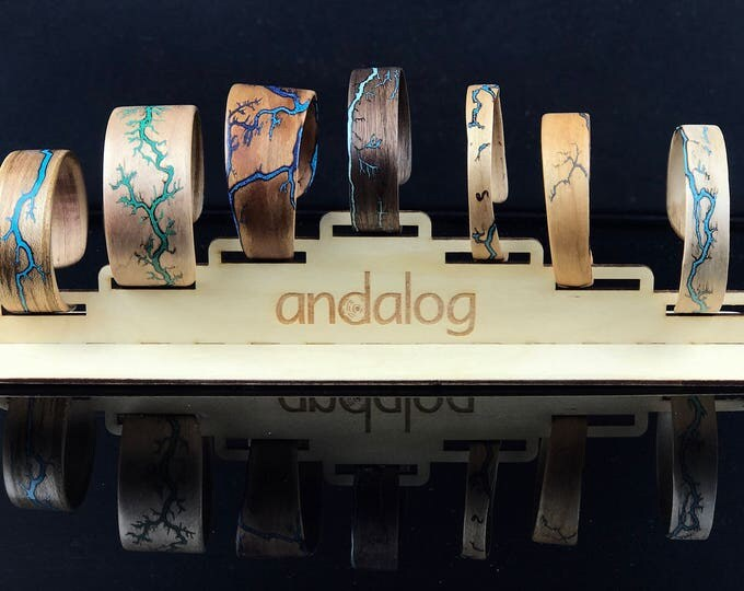 Featured listing image: Electrocuted Bent Wood Bracelet with Crushed Stone Inlay