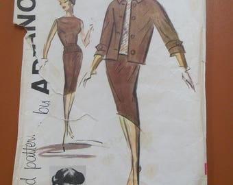 Advance 9291 Edith Head 3-Piece Suit Jacket Top Blouse Straight Skirt Turban Hat Vintage Sewing Sew Easy Pattern 1960s 60s Size 14