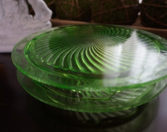 Vintage, Set of Two Anchor Hocking Green Glass Cake Plates