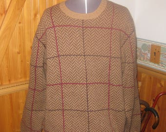 Mens Vtg Brooks Brothers 100 percent shetland wool  Brown Windowpane Pattern  Mod crewneck sweater Mens Med Free ship