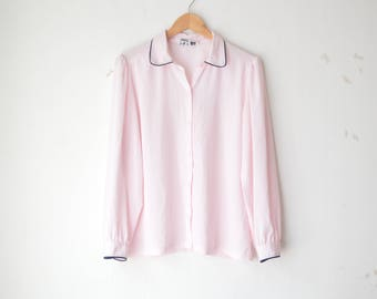 pastel pink button down sheer blouse 80s // M