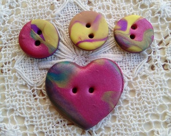Set of 4 polymer clay buttons, small buttons, heart button, multi colour buttons, handmade buttons, unique buttons, knitting, scrapbooking