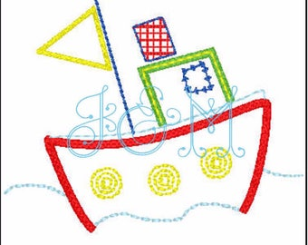 Hendrix Mini Tug Boat Machine Embroidery Design