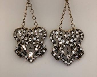 Great Gatsby / Jazz Age / Flapper Chandelier Antique Old Cut Diamond Openwork Dangle Earrings