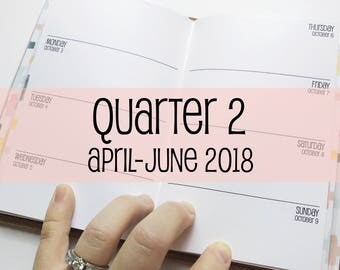 Traveler's Notebook POCKET Size Week on Two Pages {Q2 | April-June 2018} #600-12