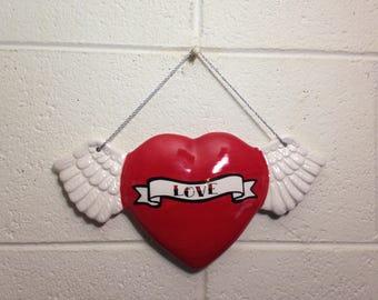 Tattoo Love Heart With Wings Wall Art Hanging handmade hand made OHIO USA tattoo ceramic pottery winged goth