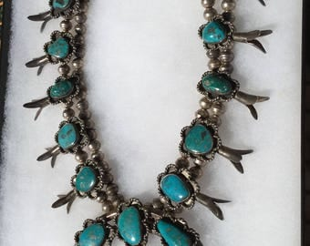 Huge 9 oz. Antique 1930's Navajo Old Pawn Sterling Silver Squash Blossom Necklace with Fox Mine Turquoise, Old Pawn