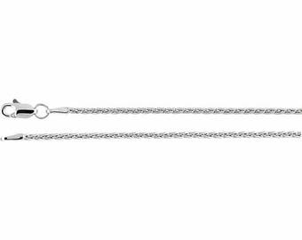 14K White Gold Wheat Chain, 16 inches Long 1.5 mm  - CH971WG