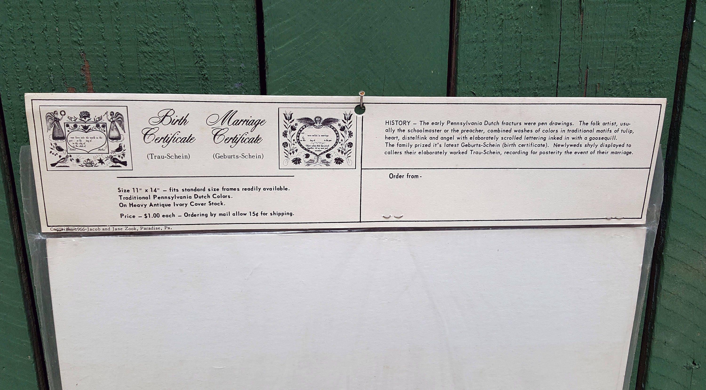 Vintage pennsylvania dutch birth certificate watercolor get shipping estimate aiddatafo Choice Image