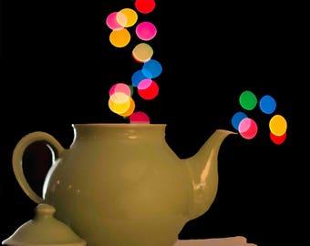 Bokeh Photography, Bokeh Teapot, Abstract Photos, Christmas Bokeh, New Year's Eve Bokeh, Green Teapot, Christmas Cards, Colorful Bokeh