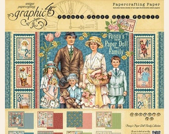 Graphic 45 PENNY PAPER DOLL Family 8X8 Paper Pad 4501588 1.cc06