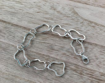 Organic Small Link Sterling Silver Bracelet