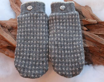 Wool sweater mittens lined with fleece with Lake Superior rock buttons in gray, Valentines, coworker gift, winter wedding, birthday
