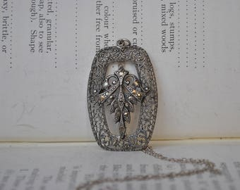 Vintage Sterling Necklace - 1940s Art Deco Style Sterling Marcasite Filigree Pendant