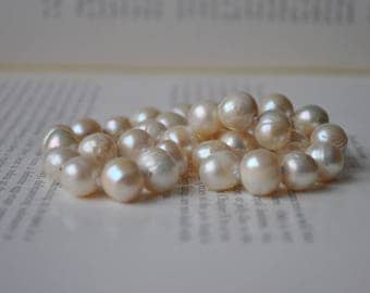 "Handknotted Cream Freshwater ""Baroque"" Pearl Necklace - New Old Stock Pearls, Sterling Clasp, Mid Century Style"
