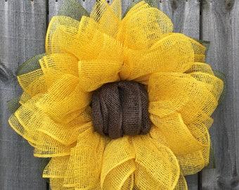 Fall Sunflower, Fall Wreath, Fall Decor, Burlap Wreath, Summer Wreath, Front Door Wreath, Sunflower Wreath, Sunflower Decor, Handmade