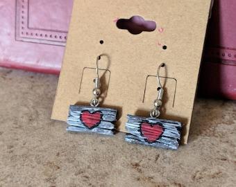 Faux Driftwood Heart Earrings