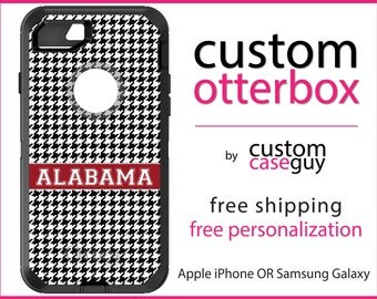 Alabama OtterBox Defender / Apple iPhone OR Samsung Galaxy / Houndstooth Bama / Custom Personalized Monogrammed / Any Color / Any Font
