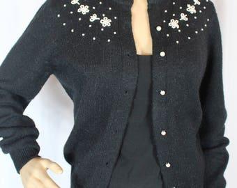 vintage black 1980s cardigan