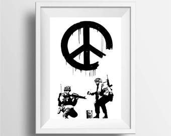 Banksy peace soldiers poster print