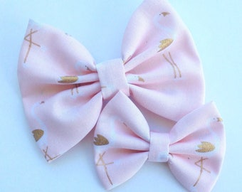 Pink with Gold Flamingo Handmade Fabric Hair Clip or Headband Bows