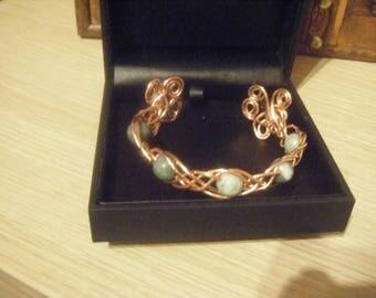 Ladies copper and green jade bracelet