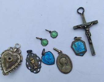 8PCS french antique Sterling silver Reliquary paris medal heart pendant virgin mary  enamel solid silver crucifix religious medal