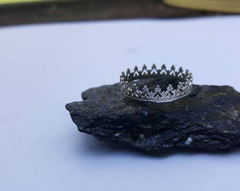 Royal crown Sterling silver stacking ring