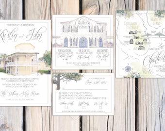 William Aiken House Wedding Invitations Suite