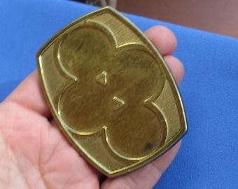 Vintage Flower Shaped Metal Buckle Missing Cabochons