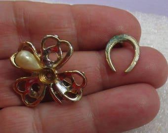 Vintage Faux Pearl Shamrock Brooch Horseshoe Lapel Pin Repair Repurpose Verdgris Missing Faux Pearls