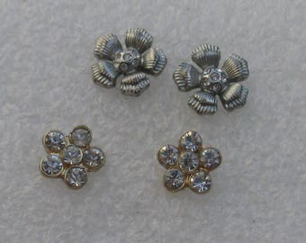 Lot Of Retro Flower Rhinestone Pierced Earrings