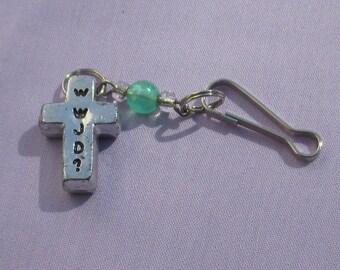 Retro Cross WWJD Zipper Charm