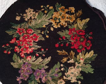 Colorful Vintage Finished Floral Needlepoint