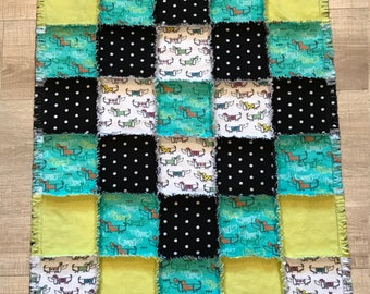 Dachshund flannel quilt, dog quilt, dog blanket, baby quilt, toddler quilt, dachshund blanket, dachshund crate, dots; 10% of PP to charity