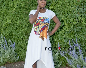 Queen Neria headwrap High-low  Dress WHITE
