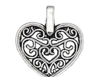 40 Carved Hollow Lacy HEART Charms - Heart Pendants - 16 MM Open Pattern Heart Charms - Antique Silver