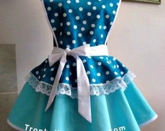 Apron # 2010 - Teal and white polka dots on a seafoam color retro hostess apron - LAST ONE LEFT