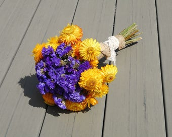 Fall wedding bouquet dry flowers purple yellow real flowers Thanksgiving decor autumn wedding fall decorations summer flowers dried bouquet