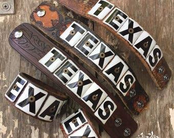 Texas license plate cuff - western leather belt cuff