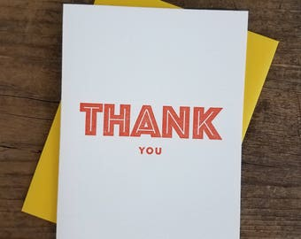 Thank You Letterpress Card - Set of 6