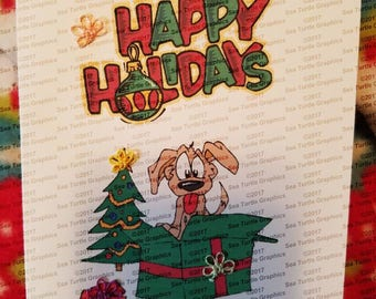 Tatted Notecards - Christmas Present with Puppy