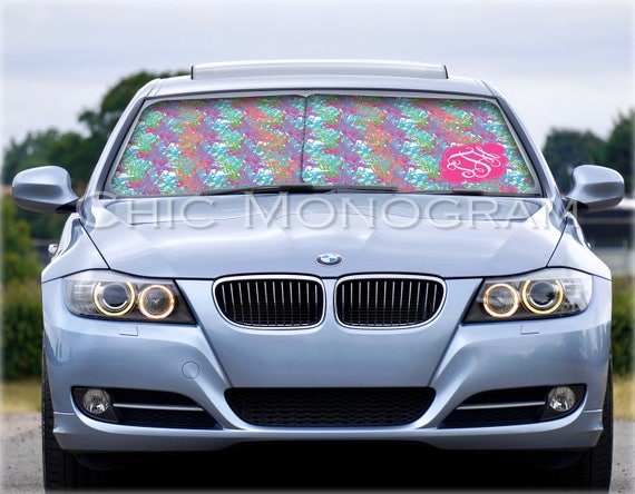 Custom Car Sun Shade Monogrammed Sunshades Personalized Windshield Sun Shades For Car Lilly Inspired Colorful Coral Car Accessories for Her